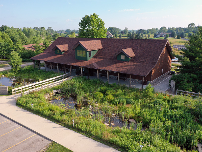 Aerial view of outdoor discovery center visitor center