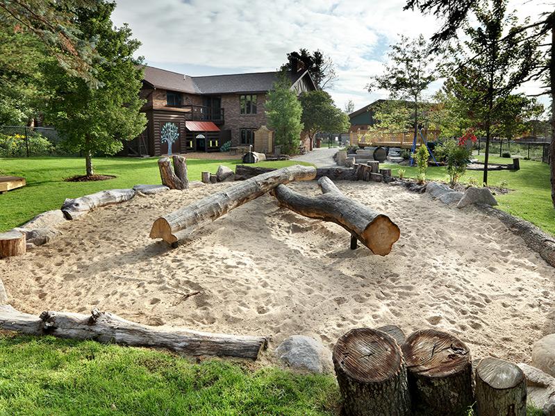 Natural sandbox and balance beams