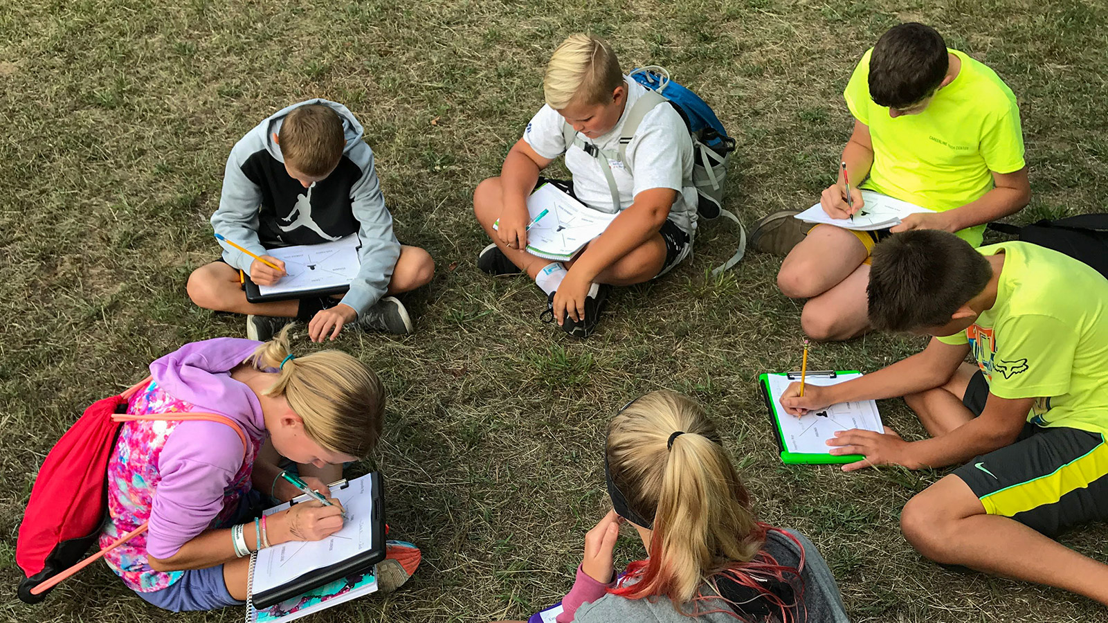 Children learning in a group outdoors