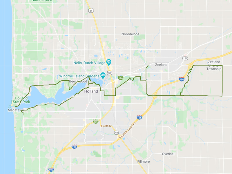 Map of Macatawa Greenway Trail