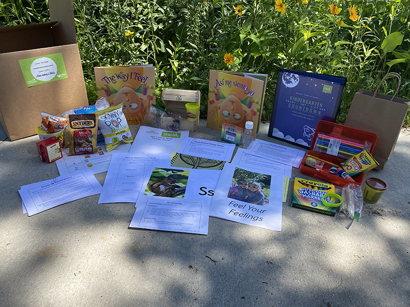 Box with educational materials for children