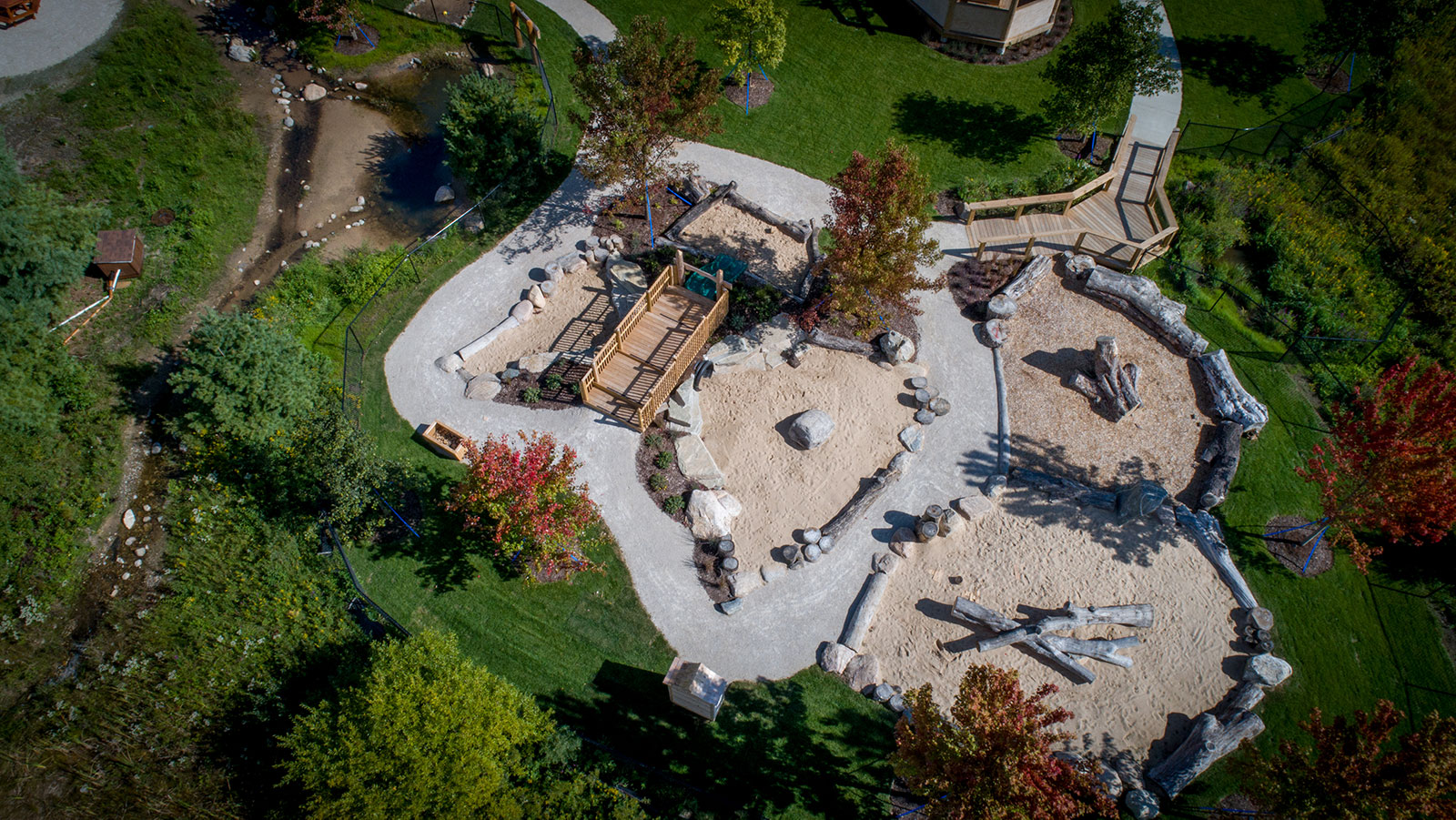 Aerial view of natural play area