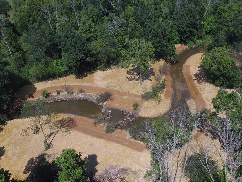 Aerial photo of restored bend in stream
