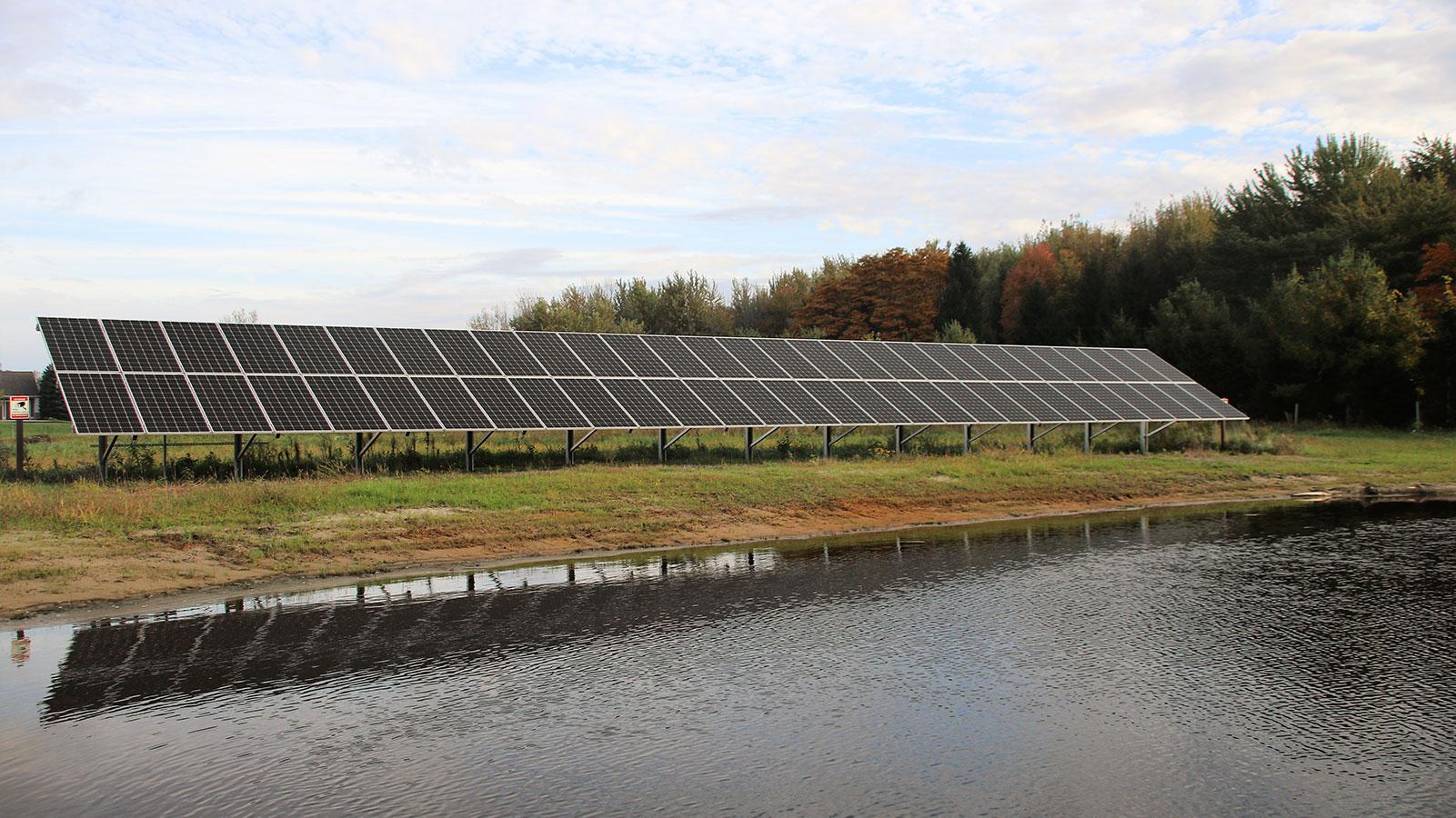 Solar array near pond