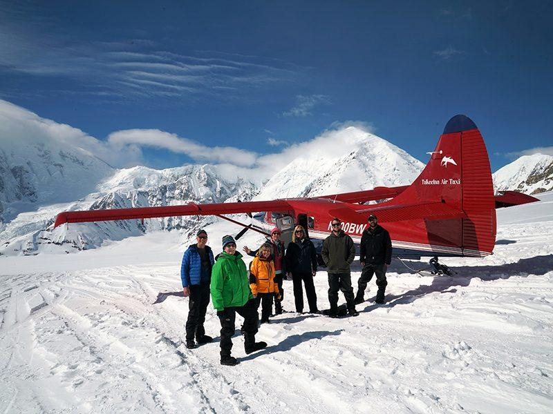 bush plane parked on glacier